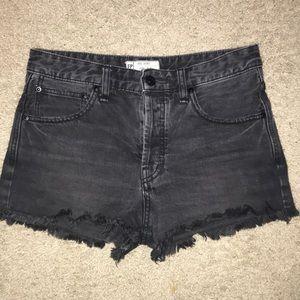 Free People black denim high waisted shorts